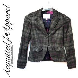 Rachel Roy Plaid Purple Gray Jacket Blazer Sz 2
